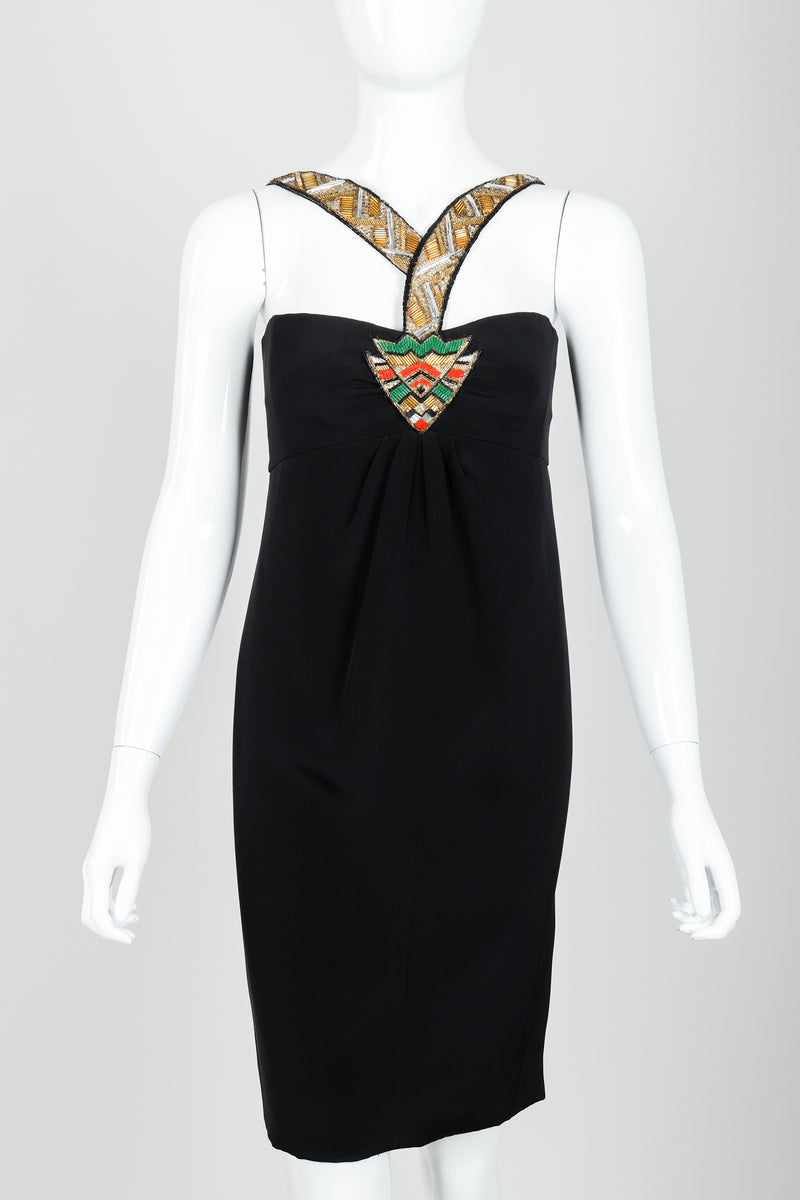 Vintage Bernard Perris Beaded Grecian Neck Cocktail Dress on Mannequin front crop at Recess