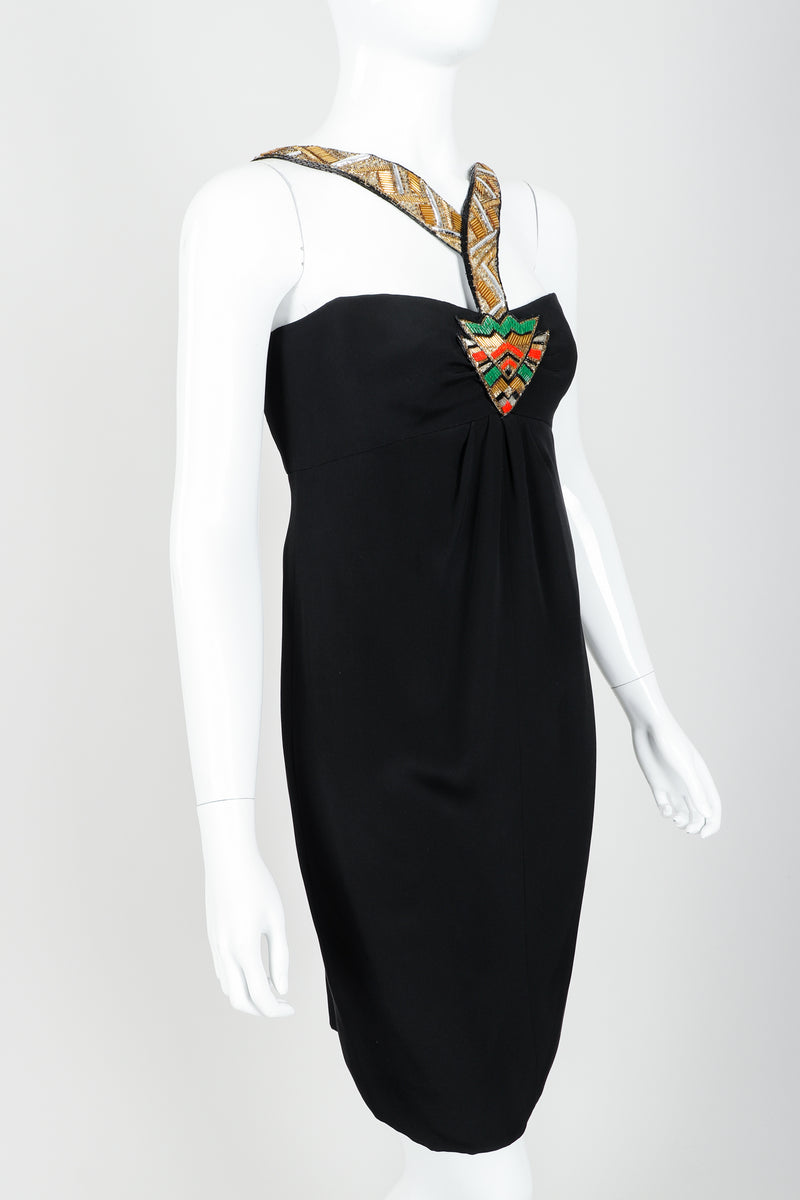 Vintage Bernard Perris Beaded Grecian Neck Cocktail Dress on Mannequin angle crop at Recess