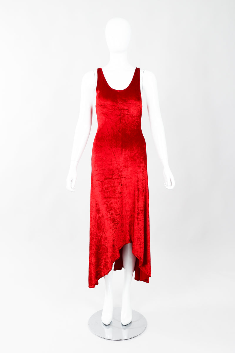 Vintage Alley Cat by Betsey Johnson Red Panne Velvet Dress on Mannequin Front, at Recess