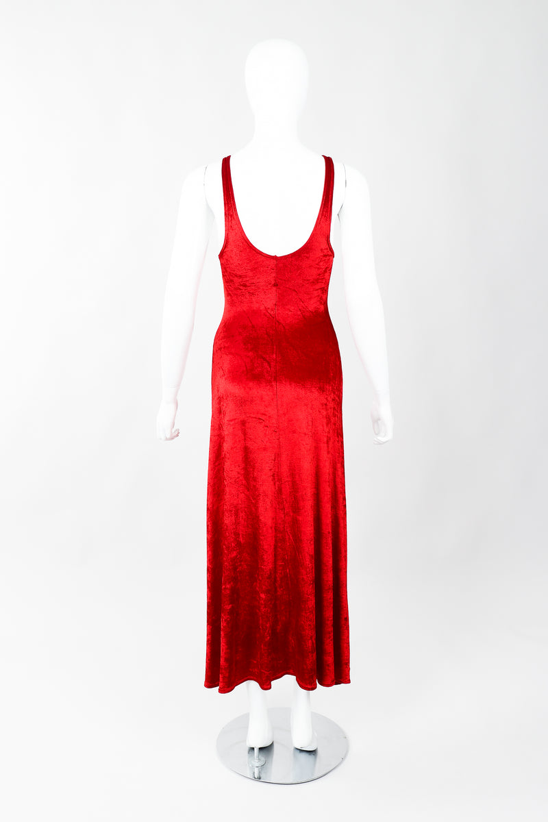 Vintage Alley Cat by Betsey Johnson Red Panne Velvet Dress on Mannequin Back, at Recess