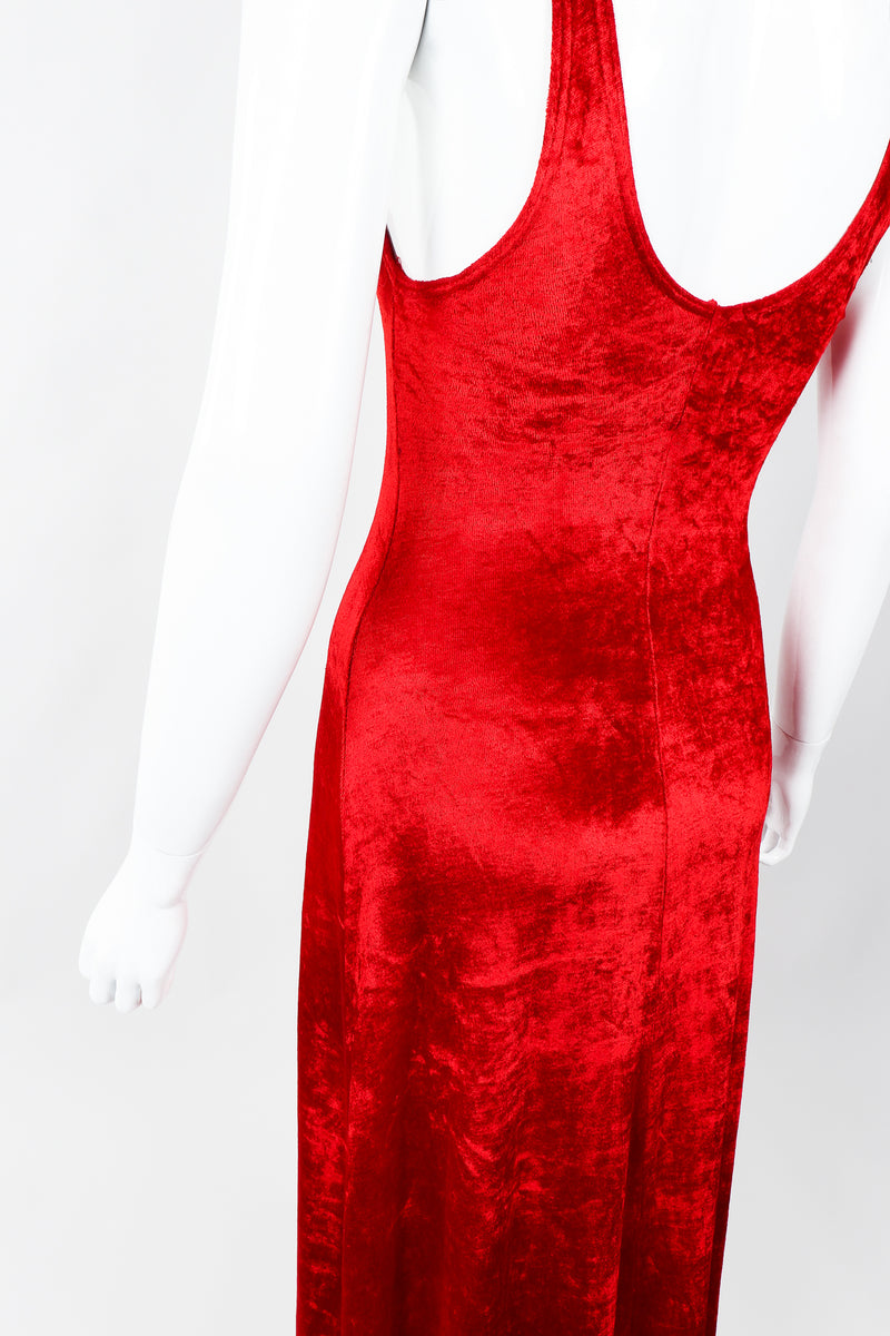 Vintage Alley Cat by Betsey Johnson Red Panne Velvet Dress on Mannequin Angled, at Recess
