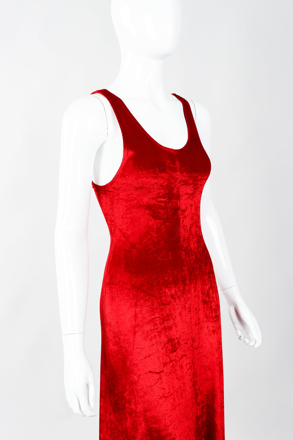 Vintage Alley Cat by Betsey Johnson Red Panne Velvet Dress on Mannequin cropped, at Recess