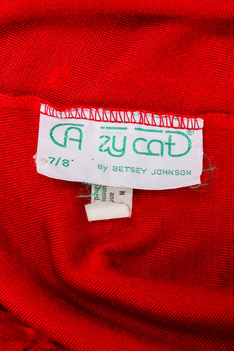 Vintage Alley Cat by Betsey Johnson label on red fabric