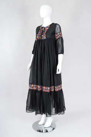 Recess Los Angeles Vintage Beverly Paige Sheer Embroidered Peasant Dress