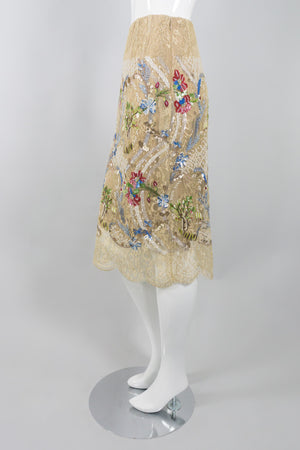 Bill Blass Embellished Chantilly Lace Garden Skirt