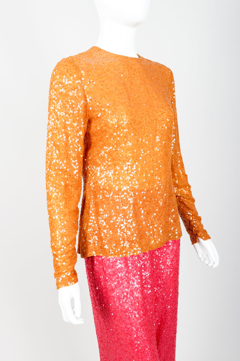Vintage Bill Blass Sequin Sundae Top & Pant Set on Mannequin Angle crop at Recess Los Angeles