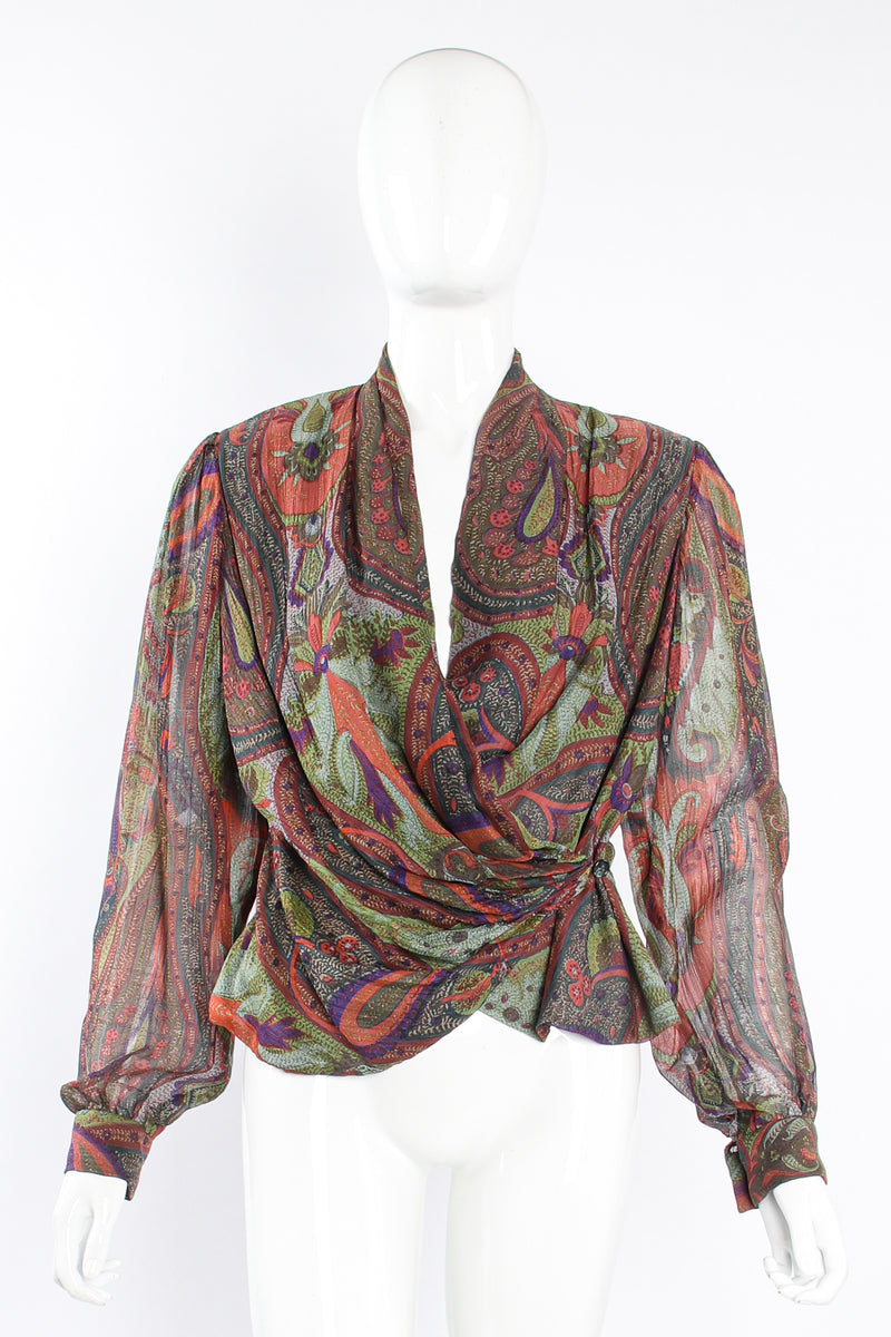Vintage Bill Blass Paisley Draped Wrap Blouse on Mannequin front at Recess Los Angeles