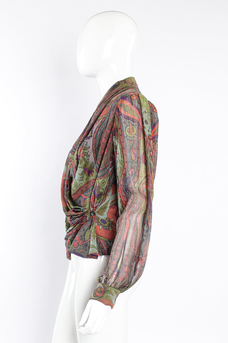 Vintage Bill Blass Paisley Draped Wrap Blouse on Mannequin side at Recess Los Angeles