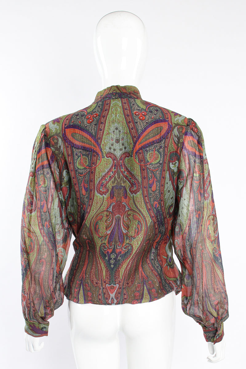 Vintage Bill Blass Paisley Draped Wrap Blouse on Mannequin back at Recess Los Angeles