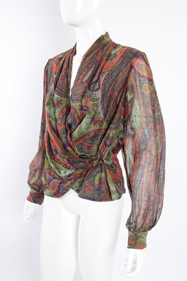 Vintage Bill Blass Paisley Draped Wrap Blouse on Mannequin crop at Recess Los Angeles