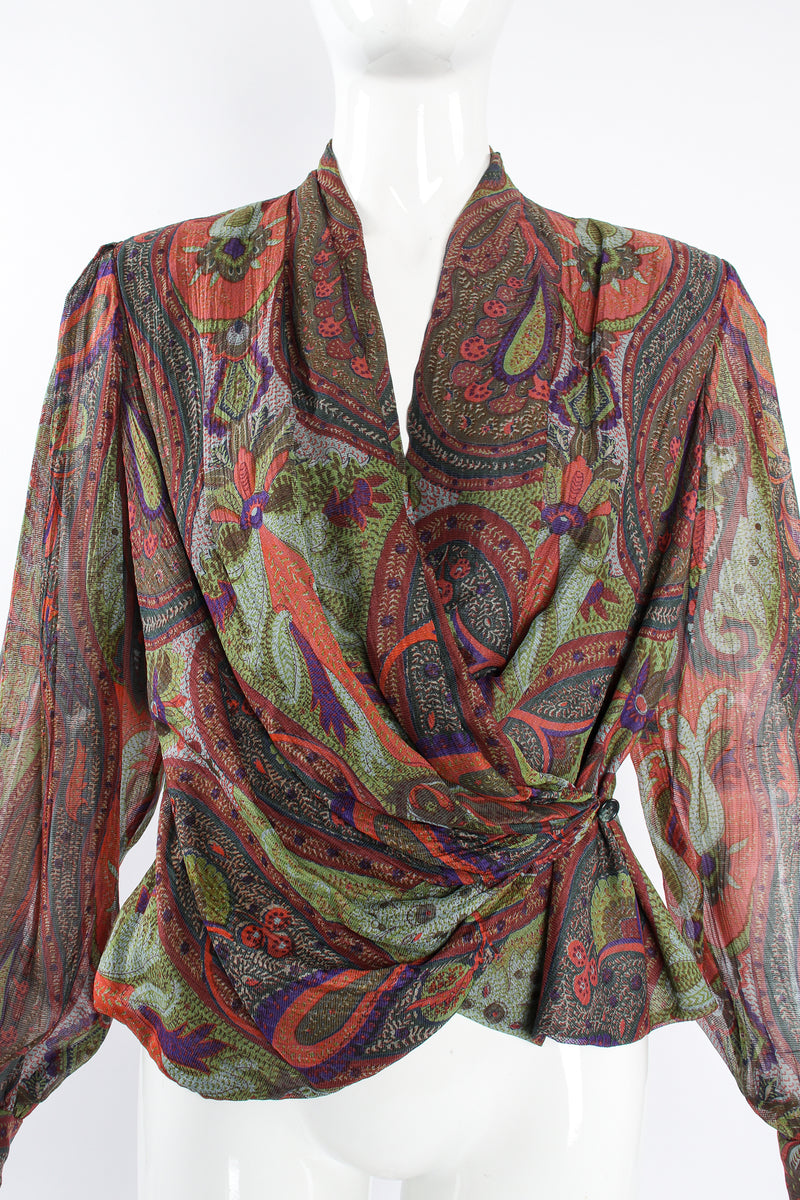 Vintage Bill Blass Paisley Draped Wrap Blouse on Mannequin front crop at Recess Los Angeles
