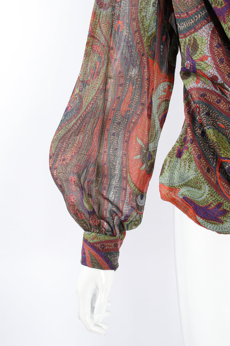 Vintage Bill Blass Paisley Draped Wrap Blouse on Mannequin sleeve at Recess Los Angeles