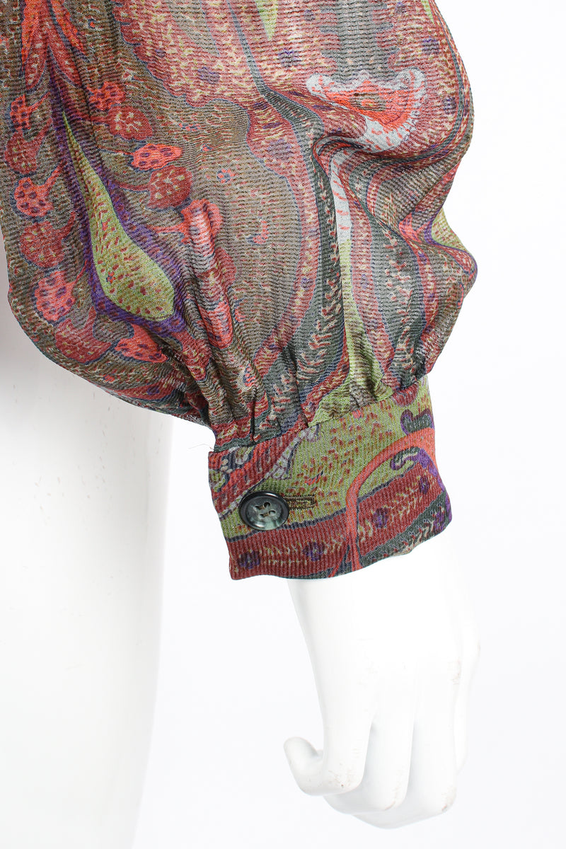 Vintage Bill Blass Paisley Draped Wrap Blouse on Mannequin cuff at Recess Los Angeles