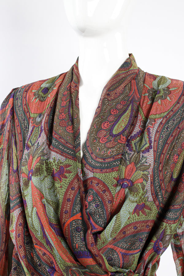 Vintage Bill Blass Paisley Draped Wrap Blouse on Mannequin neckline at Recess Los Angeles