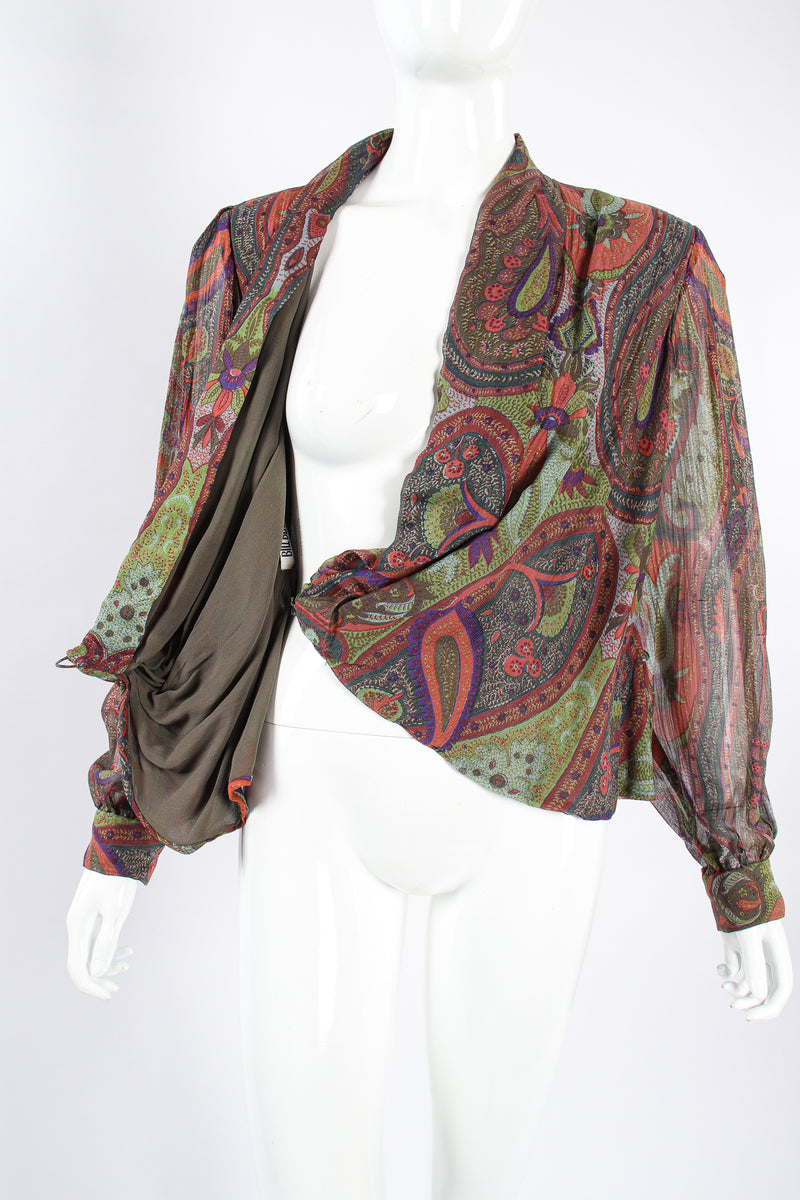 Vintage Bill Blass Paisley Draped Wrap Blouse on Mannequin wrap at Recess Los Angeles