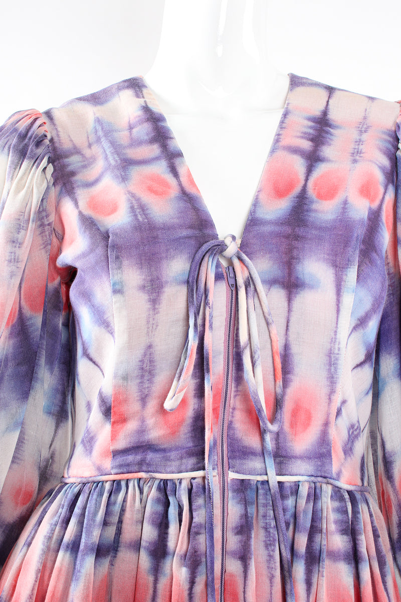Vintage Bill Tice Royal Robes Magnin Tie Dye Balloon Sleeve Dress on Mannequin neck @ Recess LA