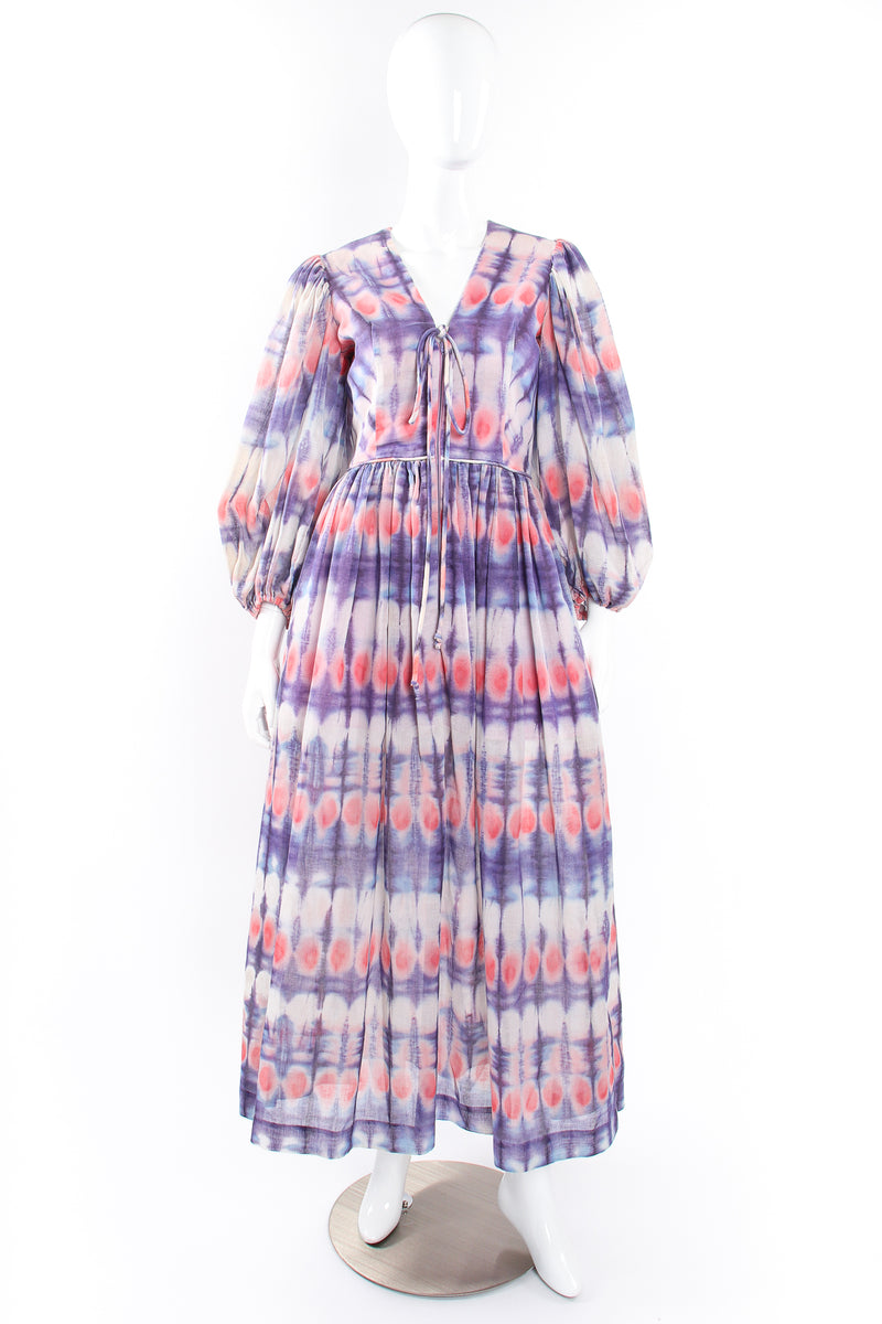 Vintage Bill Tice Royal Robes Magnin Tie Dye Balloon Sleeve Dress on Mannequin front @ Recess LA