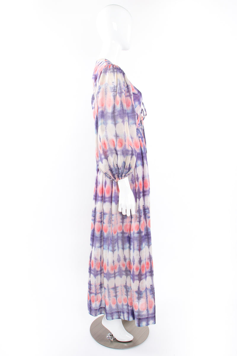 Vintage Bill Tice Royal Robes Magnin Tie Dye Balloon Sleeve Dress on Mannequin side @ Recess LA