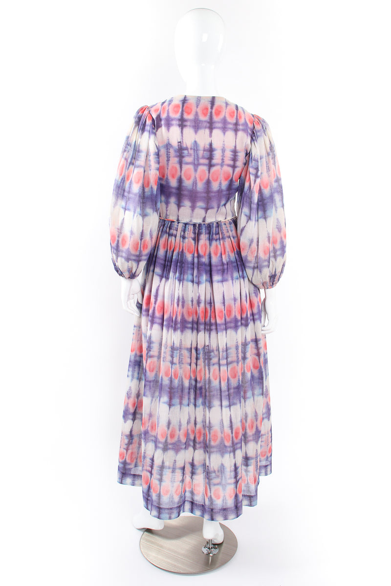 Vintage Bill Tice Royal Robes Magnin Tie Dye Balloon Sleeve Dress on Mannequin back @ Recess LA