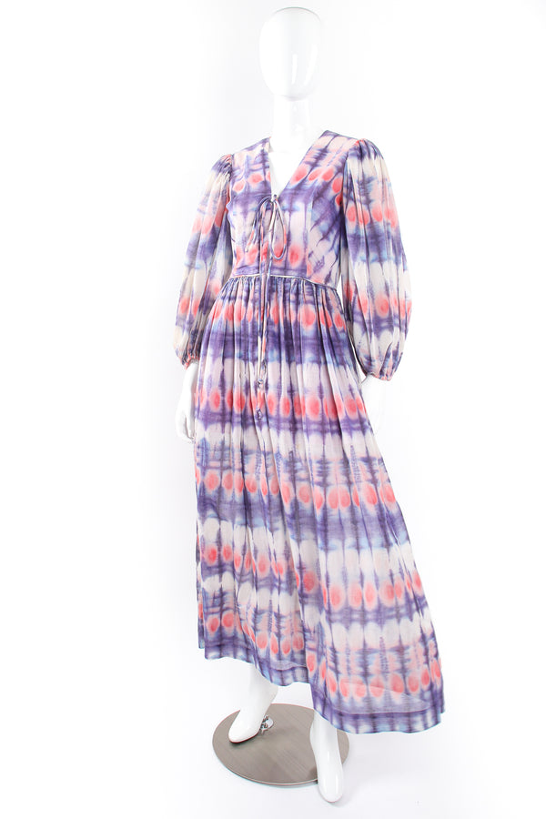 Vintage Bill Tice Royal Robes Magnin Tie Dye Balloon Sleeve Peasant Dress airy @ Recess LA
