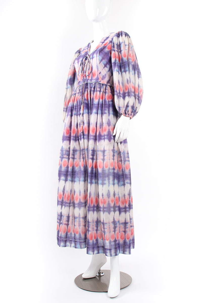 Vintage Bill Tice Royal Robes Magnin Tie Dye Balloon Sleeve Dress on Mannequin angle @ Recess LA