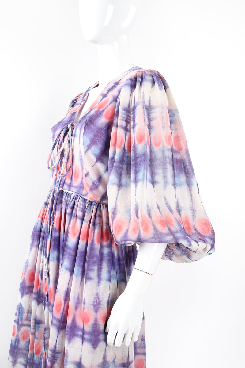 Vintage Bill Tice Royal Robes Magnin Tie Dye Balloon Sleeve Dress on Mannequin sleeve @ Recess LA