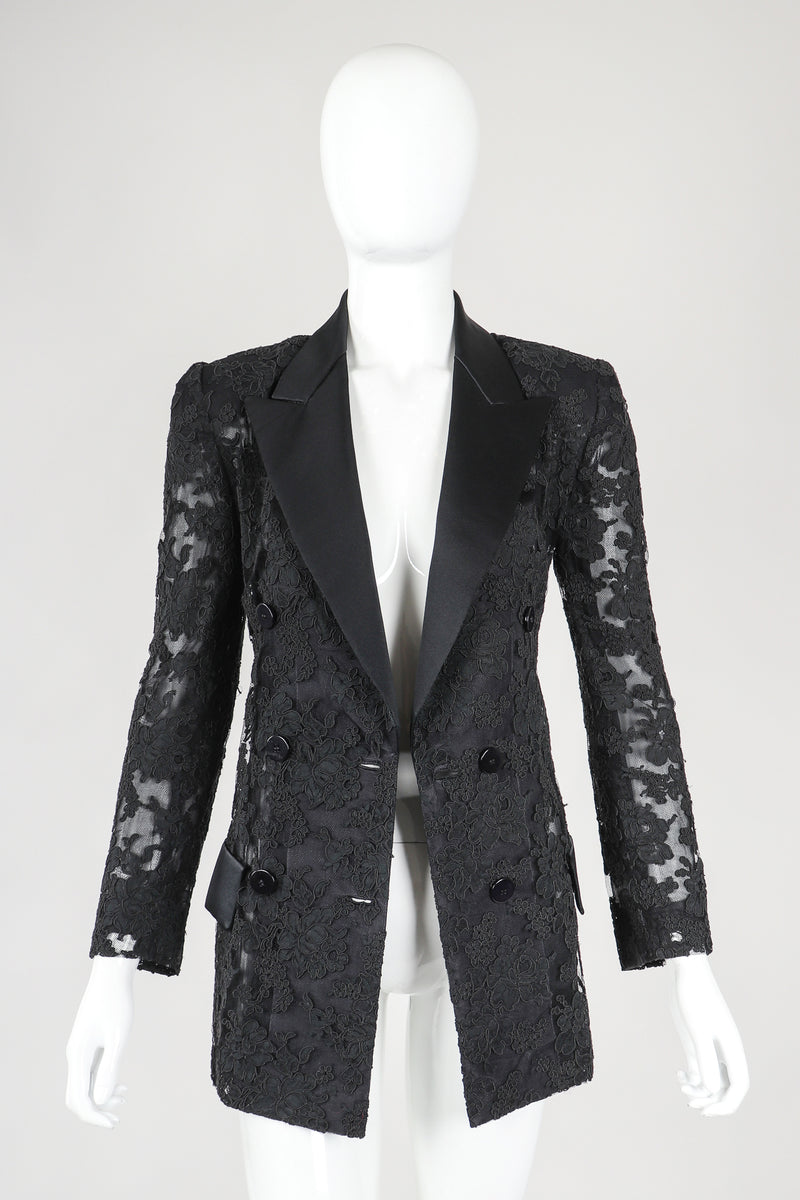 Recess Designer Consignment Vintage Bill Blass Sheer Lace Tuxedo Jacket II Los Angeles Resale