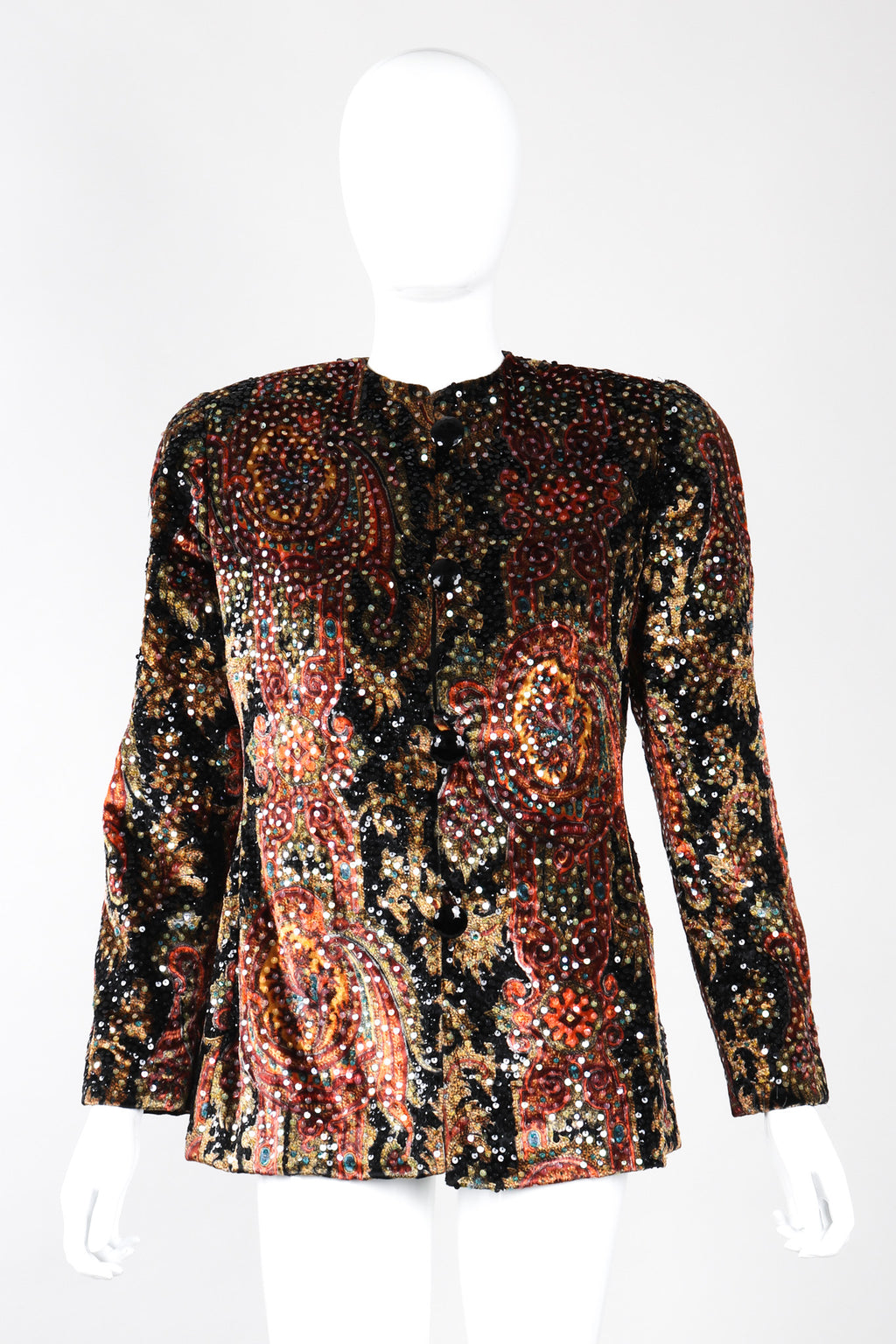 Recess Los Angeles Vintage Bill Blass Iridescent Sequin Velvet Print Jacket