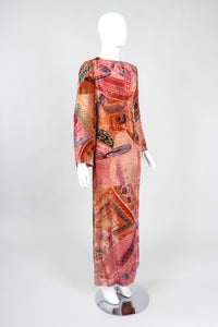 Recess Los Angeles Vintage Bill Blass Velvet Woodblock Print Burnout Gown