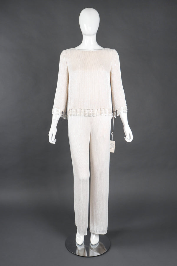 Recess Los Angeles Vintage Bill Blass Beaded Silk Top & Pant Bridal Wedding Set