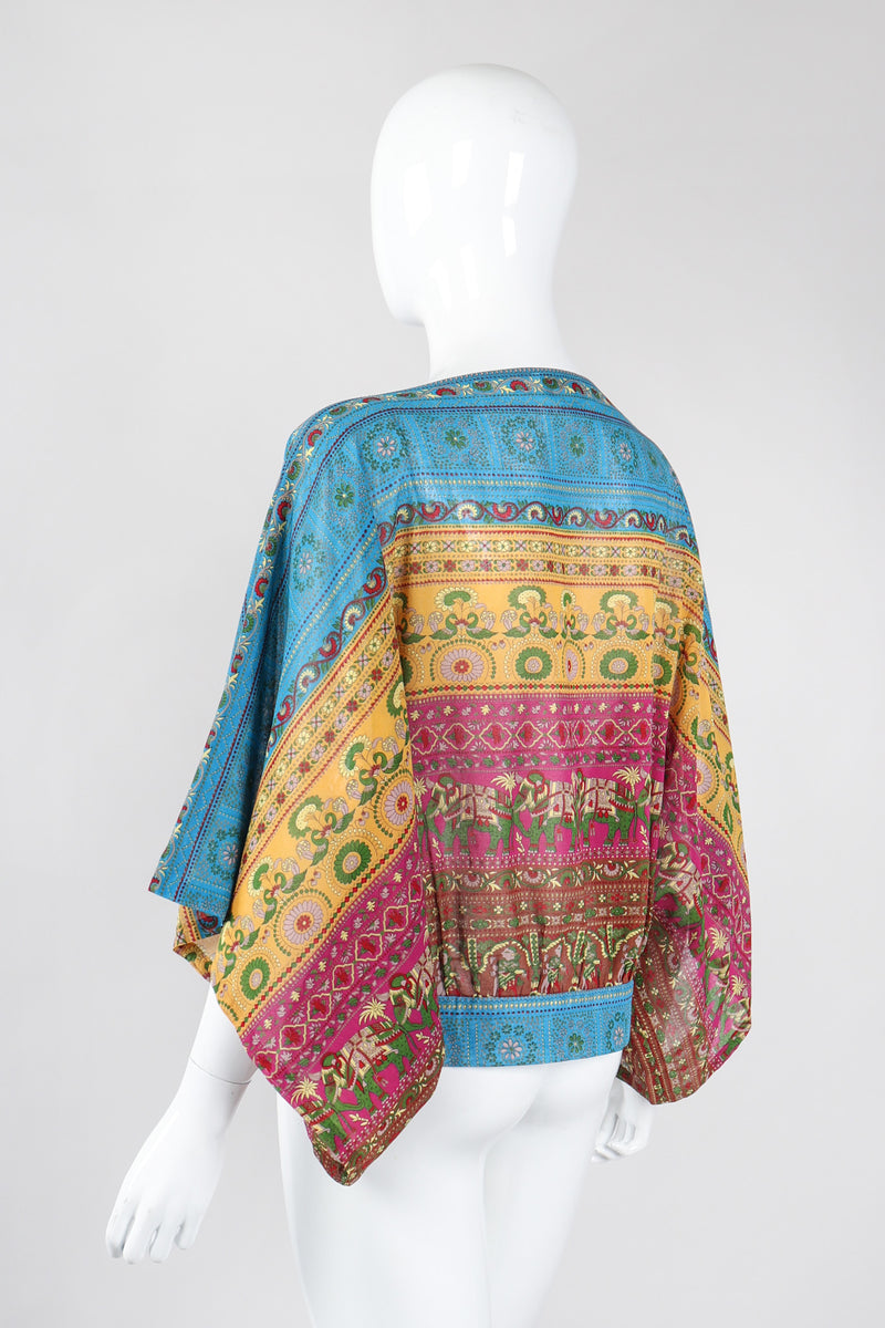Recess Los Angeles Vintage Bill Haire Friedricks Sport Kimono Sleeve Indian Elephant Bateau Top