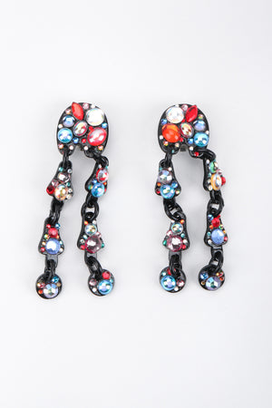 Recess Los Angeles Vintage Bill Schiffer Abstract Beaded Dangle Black Earrings Rhinestone Multicolored