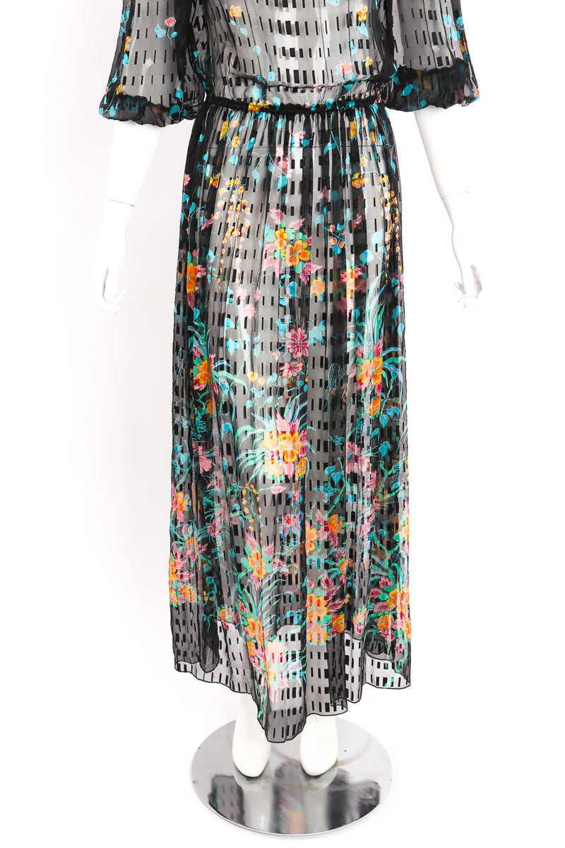 Vintage Sheer Floral Puff Sleeve Dress on Mannequin skirt at Recess Los Angeles
