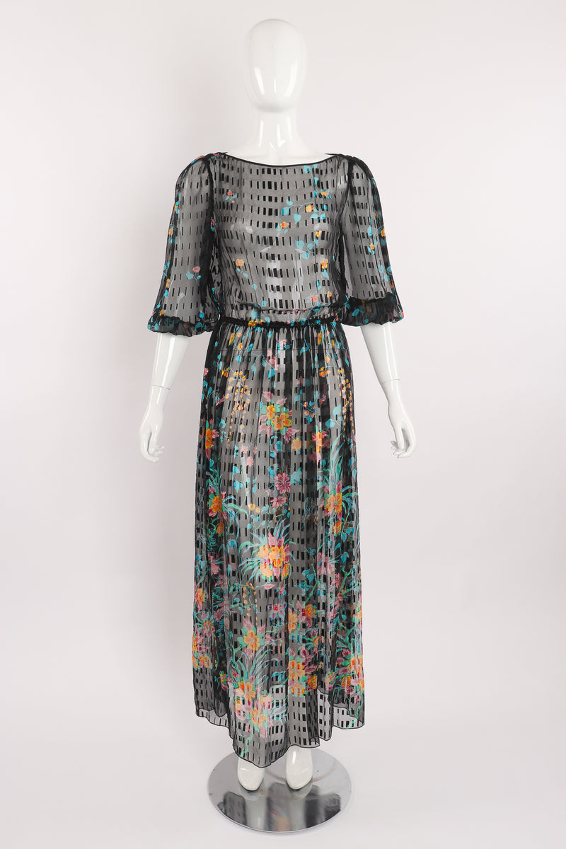 Vintage Sheer Floral Puff Sleeve Dress on Mannequin front at Recess Los Angeles
