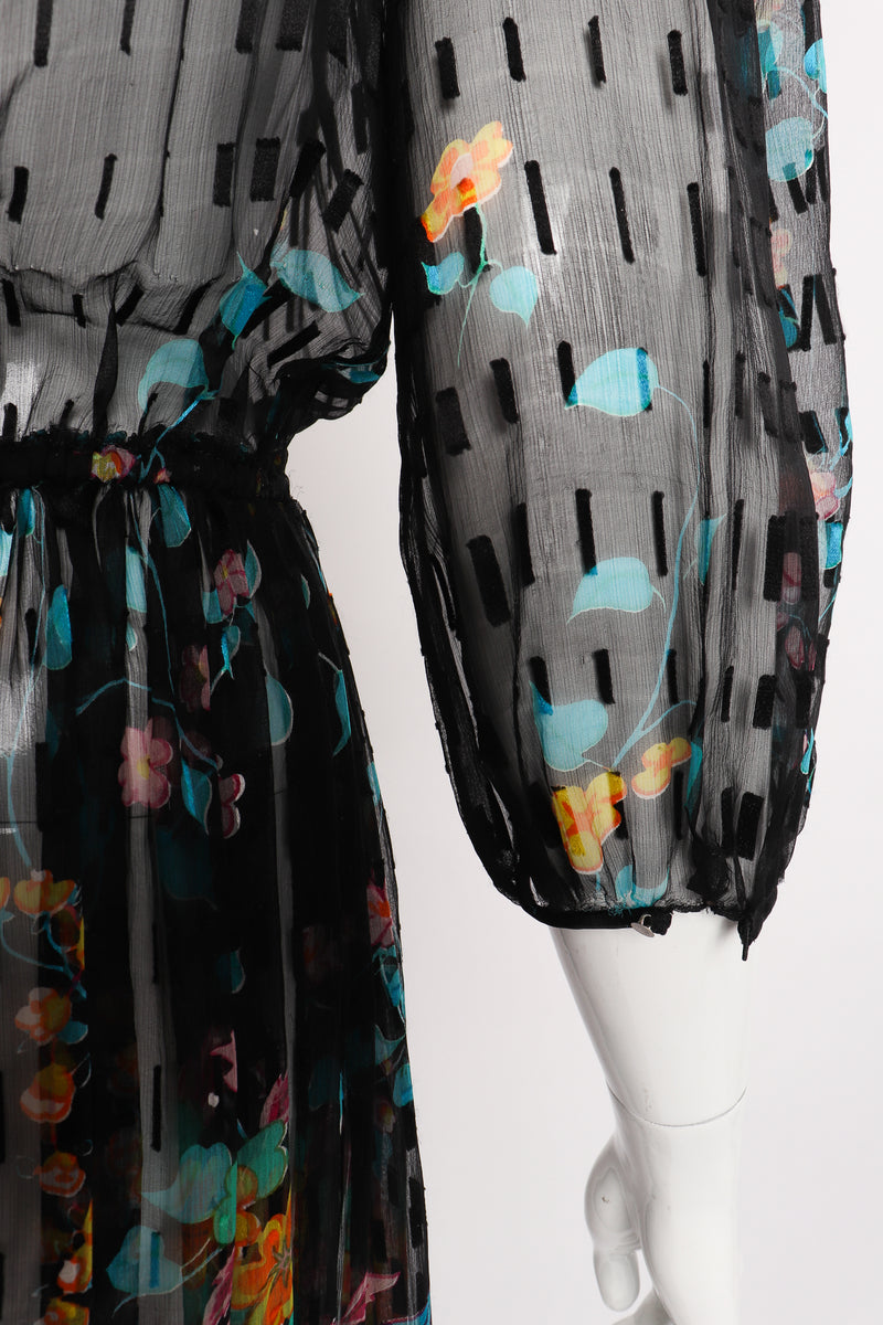 Vintage Sheer Floral Puff Sleeve Dress on Mannequin sleeve cuff at Recess Los Angeles
