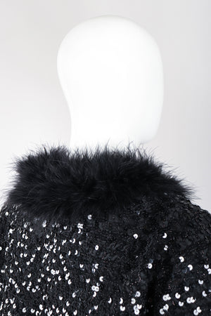 Recess Los Angeles Vintage Marabou Feather Trim Sequin Chubby Jacket