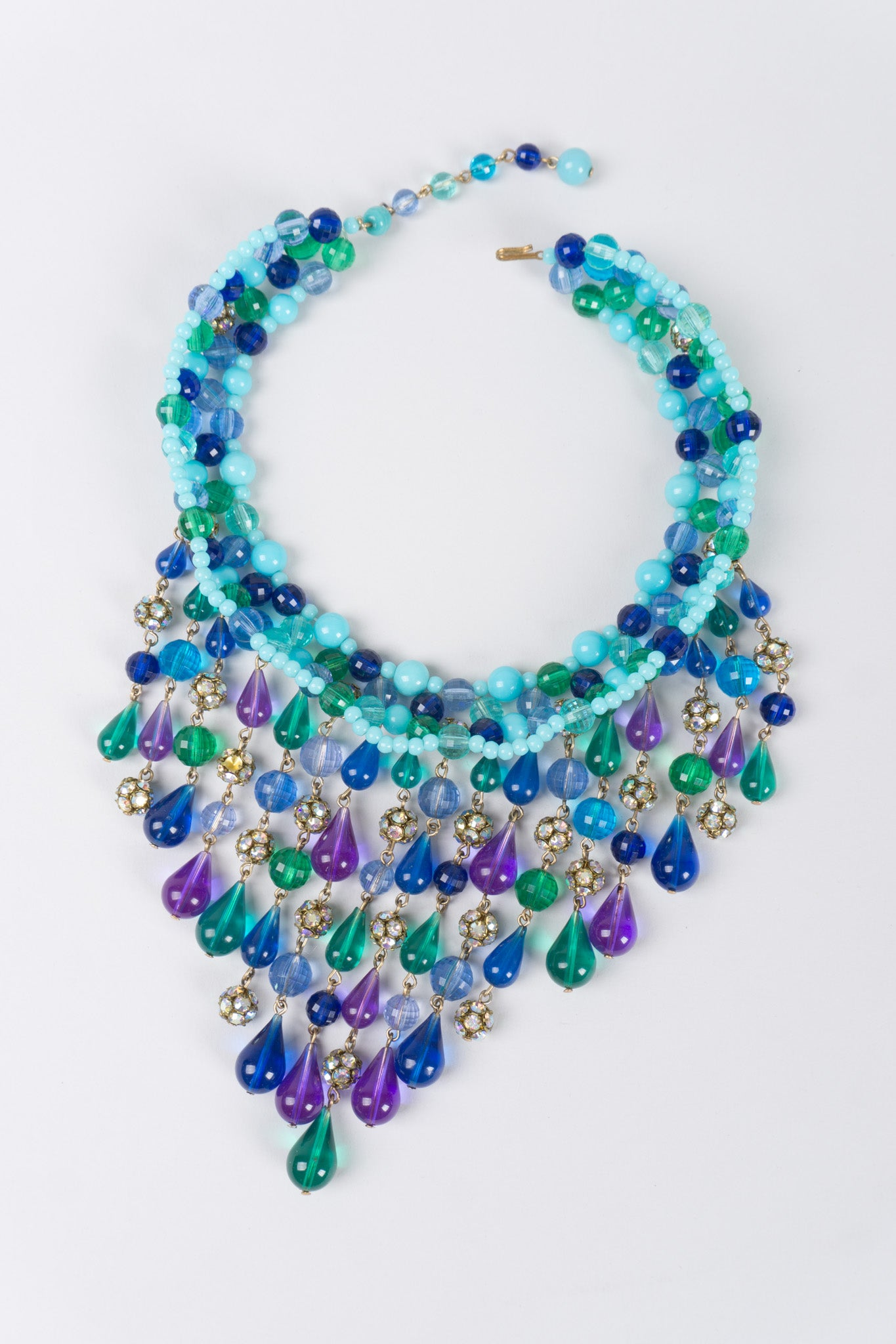 green beads cascade necklace bauble array statement round glass waterfall bib cascading seafoam