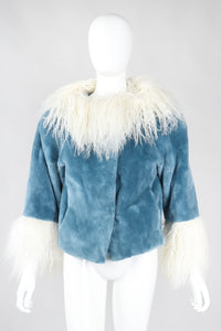 Recess Los Angeles Vintage Designer René Mongolian Trimmed Plush Fur Jacket Sky Blue