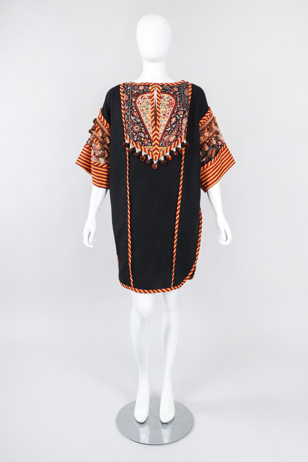 Recess Los Angeles Vintage Bob Mackie Mixed Print Cotton Tunic Dashiki Minidress