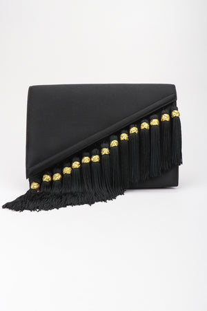 Recess Los Angeles Designer Consignment Vintage Bob Mackie Tassel Fringe Satin Clutch Bag