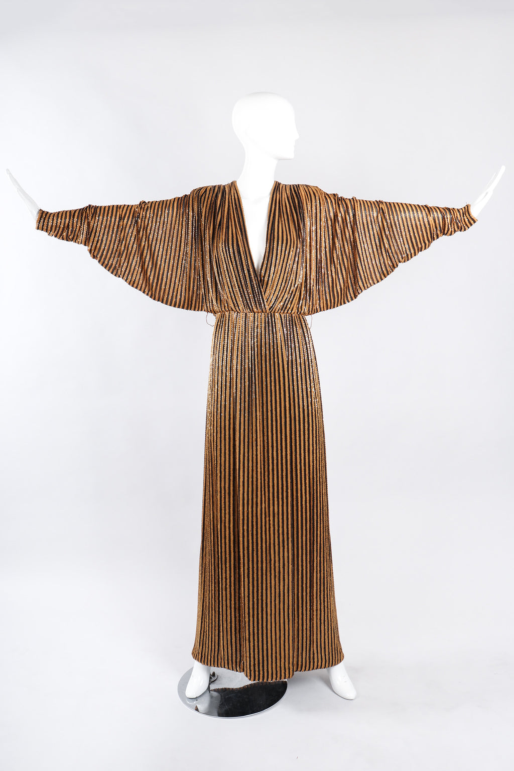 Recess Los Angeles Vintage Bob Mackie Beaded Stripe Batwing Gown