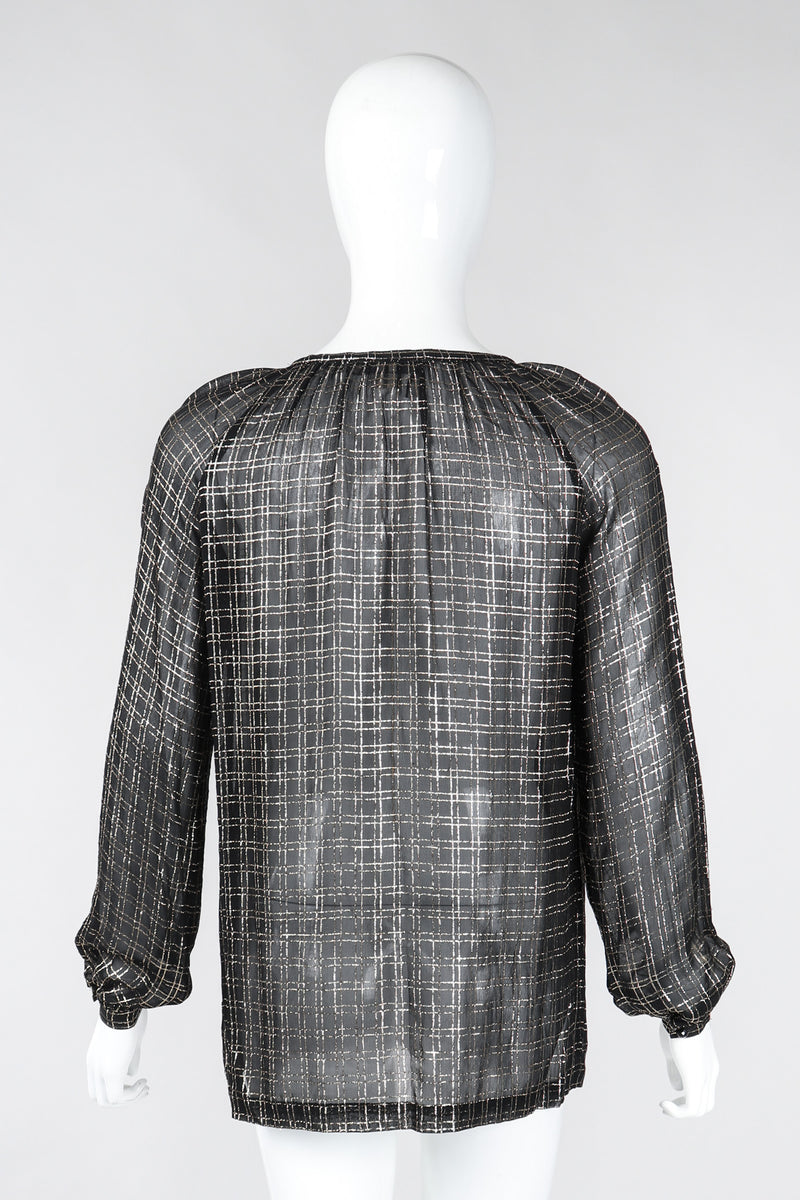 Recess Los Angeles Vintage Bonwit Teller Sheer Lamé Grid Peasant Blouse