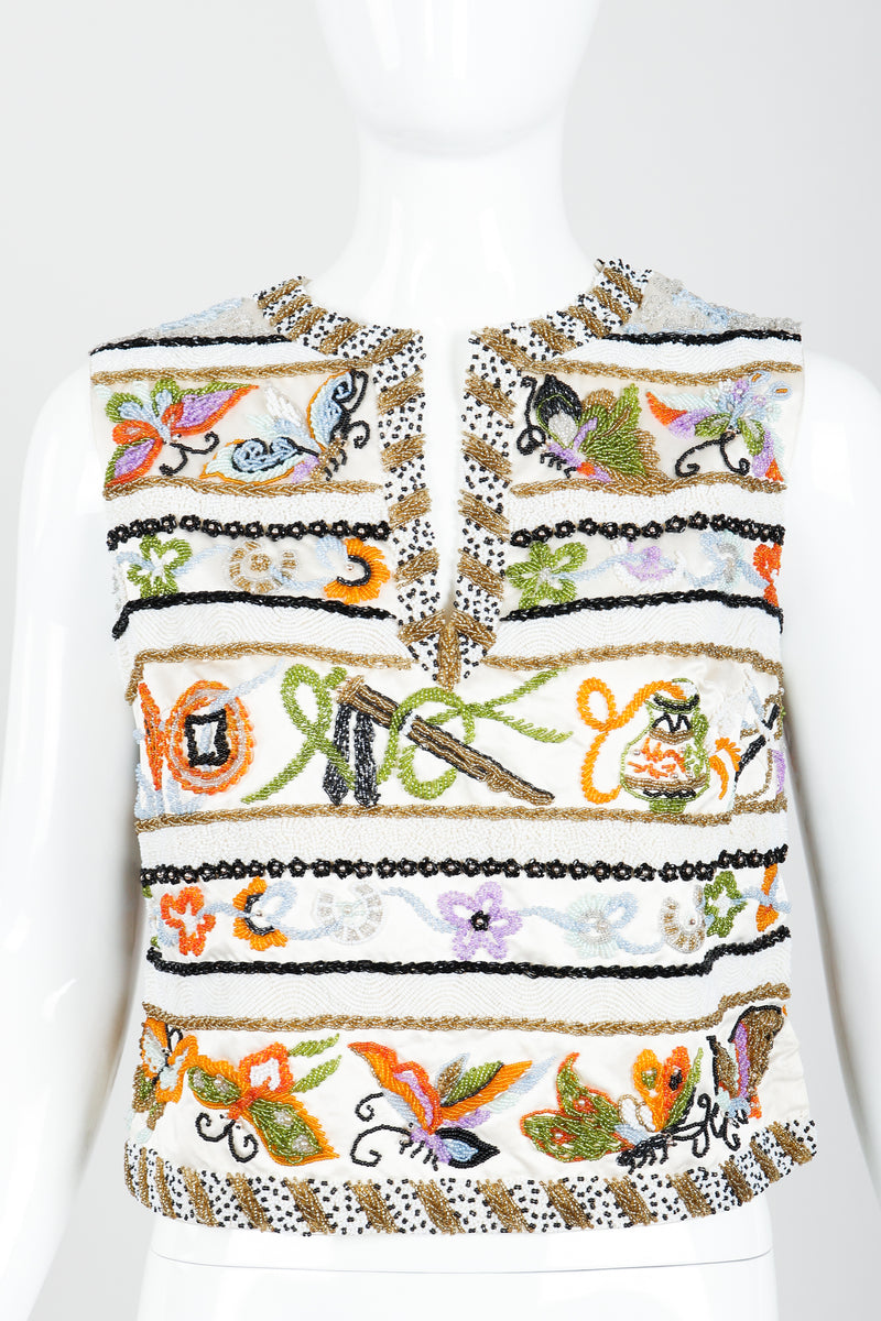 Vintage Boutique by Jo Ro Imports Beaded Butterfly Top on Mannequin front Crop at Recess