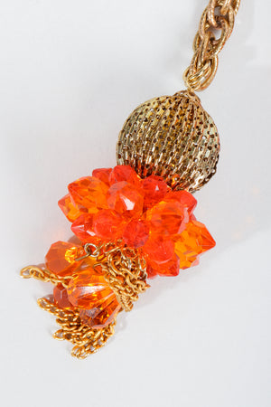 Vintage Unsigned Fiery Orange Beaded Tassel Wrap Necklace Bead Detail at Recess