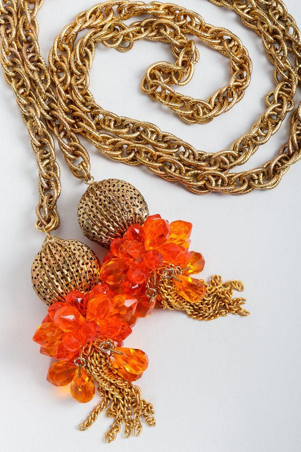 Vintage Unsigned Fiery Orange Beaded Tassel Wrap Necklace or Belt on Grey