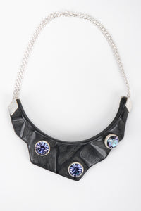 Recess Los Angeles Vintage Unsigned Swarovski A/B Crystal Carved Collar Resin Necklace