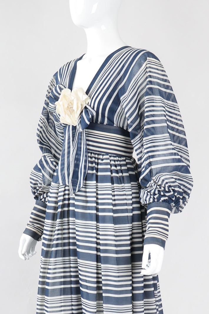 Recess Los Angeles Vintage Geoffrey Beene Sheer Striped Balloon Sleeve Dress