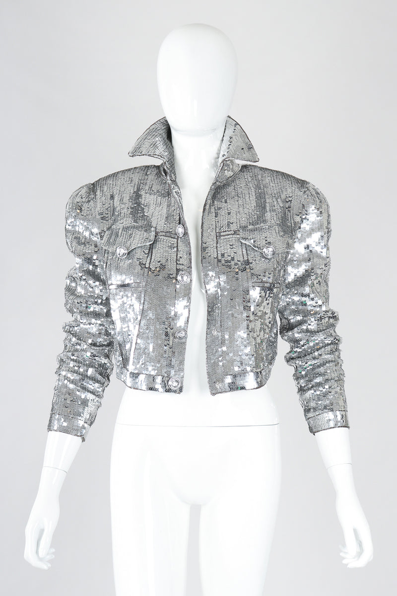 Recess Designer Consignment Vintage Cache Silver Sequin Disco Ball Jean Jacket Los Angeles Resale