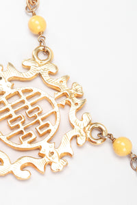 Recess Los Angeles Vintage Cadoro Double Happiness Chinese Wedding Marriage Pendant Plate Necklace