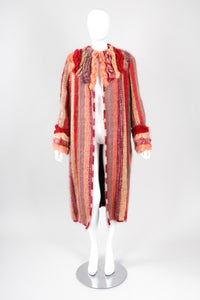 Recess Los Angeles Vintage Carpiccio Sherbet Striped Knit Mohair Duster Sweater Coat